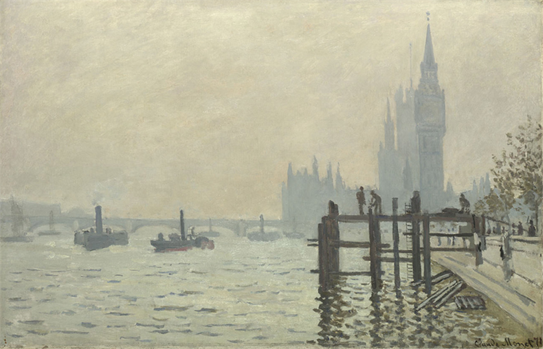 1871The Thames below Westminster伦敦