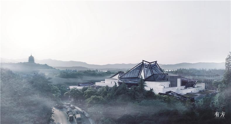 烟雨朦胧中的雷峰塔西湖和浙江博物馆