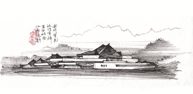 粉墙黛瓦坡顶穿插黑白构成江南流韵