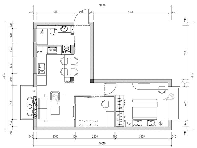园林小宅修改后平面图