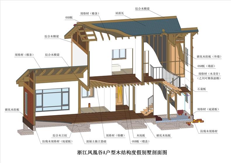 A户型木结构剖面图 彩色