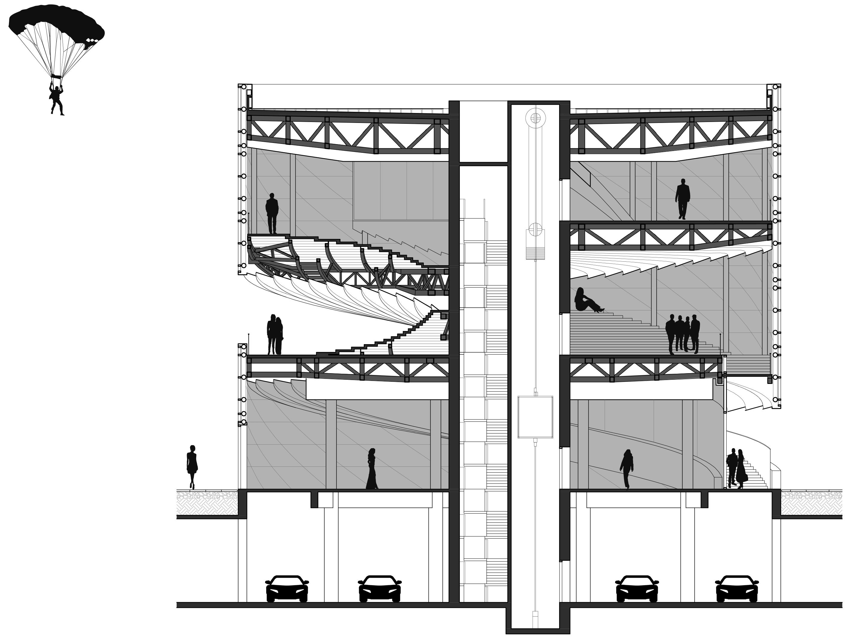 钢结构桥架从核心筒向外出挑