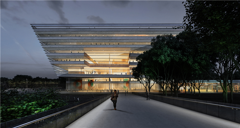03 SHL Shanghai Library Exterior Night Image by SHL